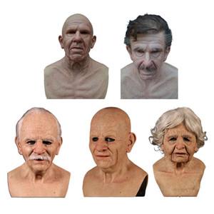 Old Man Spaventoso maschera per il partito del costume di Halloween Masquerade Cosplay calvo anziano nonno Barba Silicone Mask 200929