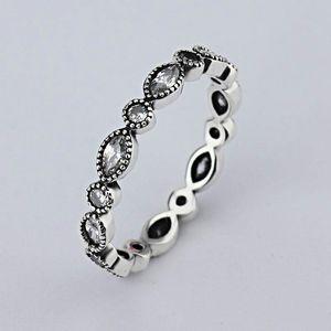 2021 wholesale new European retro diamond 925 Silver Signature Pave Round Ring Fit Pandora Cubic Zirconia Anniversary Jewelry for Women rins