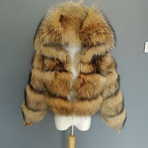 FURTJY Luxury Real Women Silver Gold Fox cappotti di pelliccia con cappuccio di pelliccia del rivestimento femminile di modo inverno caldo di spessore Genuine Fur OuterwearX1018