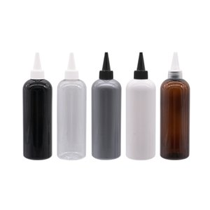 12Pcs Refillable Empty PET Containers With Ponited Mouth Cap 300ml Capacity Travel Bottles For E-Jam Liquid Screw Container