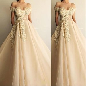 2021 New Champagne Quinceanera Dresses Off Shoulder Lace Appliques Beaded 3D Floral Flowers Tulle Sweet 16 Party Prom Dress Evening Gowns