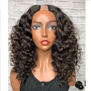 "Short U Part Curly Wig Human Hair Brazilian 130% density Hair Upart Wigs Natural Black For Black Woman 2x4""U Opening Divas wigs"