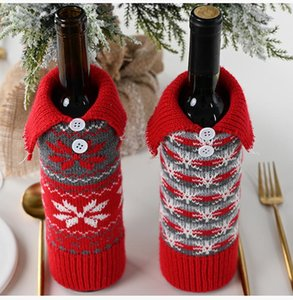 Knitted Christmas Wine Cover Bag Snowflake Button Knitted 30*10cm Creative Designer Wine Bottle Cover Christmas Decoration DHE3045