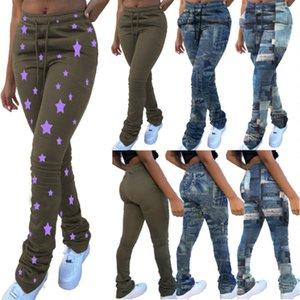 Women's Imitation Jeans drawstring Yoga Pants Casual Stretchable Slim Fitness Leggings Denim Jeans Hips Tights Sports Pleated Pants 098