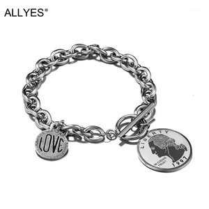 Charm Bracelets ALLYES Simple Chain Statement OT Buckle Liberty Love Stainless Steel Thick Bracelet Men Jewelry1