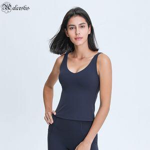 V-Ausschnitt lange Yoga Weste U-förmige Schönheit zurück hautfreundlicher nackter Abnehmen Slim Fitness Laufende Top Yoga Kleidung
