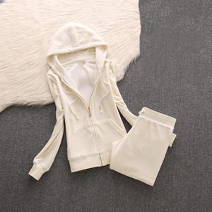 Yiciya 2 Parça Set Artı Boyutu Büyük Veet Kumaş Eşofman Pantolon Suits Kadife Kadınlar Track Suit Hoodies ve Pantolon Beyaz