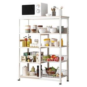 Крючки Rails Nordic Solid Color Free Punch Кухонная полка типа Многослойная стойка для хранения для посуды Микроволновая печь Современный дом ORGA
