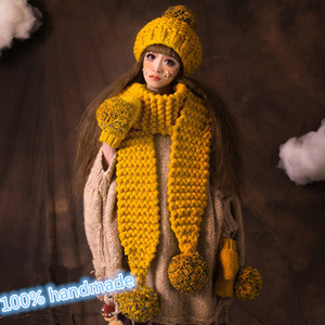 BomHCS Scarf & Gloves & Beanie Lovely Women Girl Winter Warm Knit Crochet Handmade Hat Caps Gift 201021