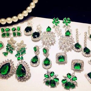 Vvintage J925 Sterling Silver Fine Drop Earrings for Women Emerald Jewelry Cubic Zirconia Green Stone Luxury Eardrop Brincoskf