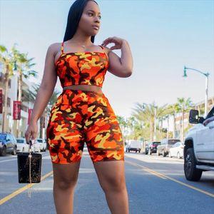 Women Sports Suit Camouflage Print Crop Tops Empire Short Pants Workout Tracksuit Summer Outfit Casual 2 Piece Set