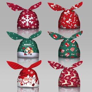 6styles عيد ميلاد سعيد كاندي حقيبة EVA أرنب الأذن هدية أكياس الكوكيز شجرة عيد الميلاد كاندي حقائب وجبة خفيفة البسكويت الخبز تحميص حقيبة الديكور CYF4465