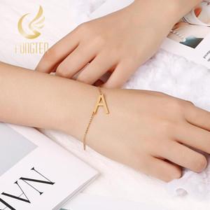S Gold 26 Initial Letter Bracelet Women Girl's Gift