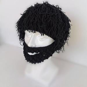 Otoño Invierno Warm Wool Pelucas Hechas Mano Hats Y Bigotes Máscaras Para Adultos Decoraciones festivas para niños en Cosplay Caps