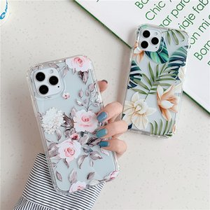 Fashion Luxury Leaf Flower Soft Phone Case for iPhone 12 mini 11 Pro SE 2020 7 8 Plus X XS Max XR Cases Cute Floral Clear Cover