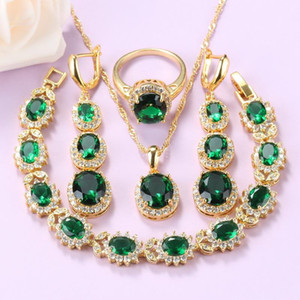 African Beaded Wedding Jewelry Set Gold-Color Green Cubic Zirconia Necklace Long Earrings Bracelet And Ring Women Sets
