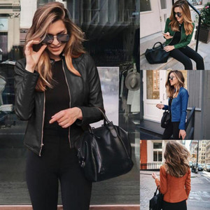 Unique Nature Womens Moto Biker Zipper Jacket Slim Fit Faux Leather Jacket Winter Autumn Basic Zipper Coat Snap Button Outerwear