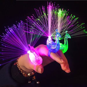 Dedo 3pcs LED Brilho Peacock Luzes feixes de laser anéis de fibra de Flash Night Lights Toy Kids para a festa de Natal Music Festival Lamp