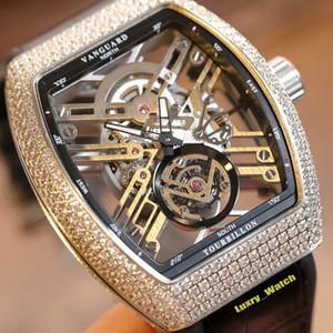 Melhor Nova Versão SARATOGE V 45 T SQT Br (NR) Esqueleto Dial Miyota automática 28800vph Mens Watch Prata Diamante caso de couro luxry Relógios