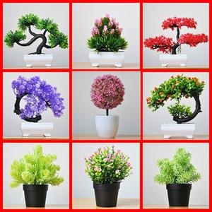 Ev Partisi Dekorasyon Otel Bahçe Dekor için 2pc Yapay Bitki Saksı Çok Stil Plastik Bonsai Sahte Çiçek Saksı Süsler