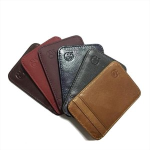 Fashion 100% Genuine Leather Thin Bank Credit Card Case Mini Card Wallet Men Bus Holder Cash Change Pack Business ID Pocket