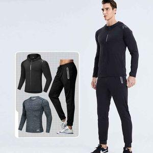 Vêtements de fitness costume en trois pièces pour hommes Former une formation de vêtements de séchage rapide Gym Gym Loisirs en plein air Sportswear à manches longues