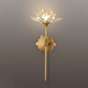Cobre Lotus Chinese Lámparas de pared Zen Salón Dormitorio cristalina creativa del aplique de la pared Luces Estudio del Corredor Iluminación decorativa