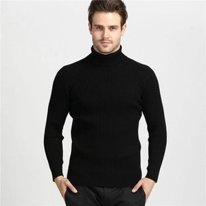 2020 Winter Thick Warm 100% Cashmere Sweater Men Turtleneck Men Brand Mens Sweaters Slim Fit Pullover Knitwear Double collar
