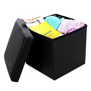 Cheap Home Living Black Multi-Function Folding Stool Storage Ottoman Footstool Practical PVC Leather Square Shape Footstool