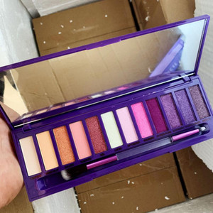 New Arrivals makeup ultraviolet eyeshadow palette with brush 12 color eye shadow hills palette shimmer matte purple