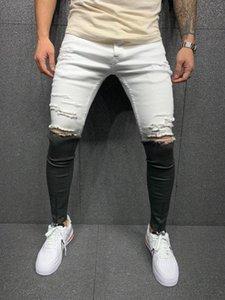 Мужские джинсы белый переход на молнию вышивки Slim Fit