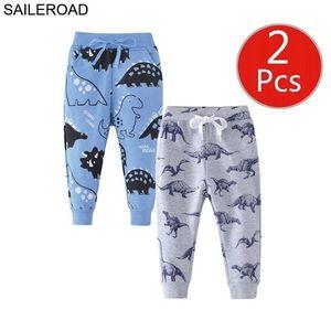 Saileroad Cartoon Hugs Me Dinosauro Ragazzi Abbigliamento Abbigliamento Bambini 7 anni Bambini Sweatspants Pantaloni caldi per pantaloni da ragazzo LJ201017