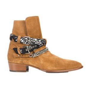 Man women Fashion Show Wyatt Harness Cowboy Boots Bandanna Slp Suede Bandana Strap Buckle Ankle Boots Kanye Western country SLP Shoes