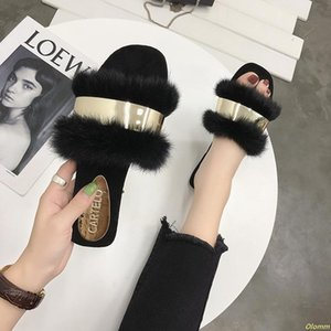 Fluffy Fur Slippers Women Fashion Metal Bling Fur Slides Flat Flip Flops Summer Winter Home Slipper Ladies Shoes