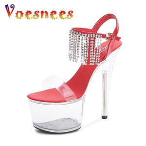 Voesnees Zapatos para mujer Crystal Tacones delgados Zapatos Ladies Plataforma clara 2021 New Pole Dance Sandalias de tacón alto Abierto