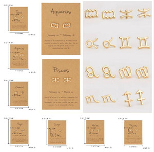 12 Constellation Stud Earrings for Women Zodiac Sign Metal Jewelry Leo Libra Aries Gold Silver Earrings Female Birthday Gifts With Card
