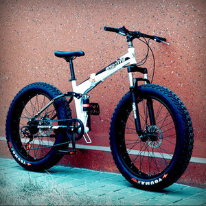 7/21/24/27 Скорость складной горный велосипед внедорожных велосипедов 4,0 Fat Tire Snow Beach Road Mountain Bike Carbon Steel Велогонки