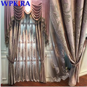 American Velvet Curtain Embroidery For Living Room Sheer Curtain Pink Window Blinds Drape Luxurious Window Treatment X-AD599