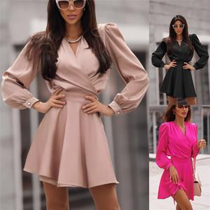 Сплошной цвет вскользь платья женщин конструктора V шеи длинного рукав тонкая рубашка платье осень Мода Пуловер Женщина Мини-платье