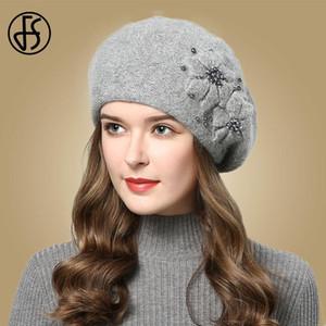 Beanie / Kafatası Kapaklar FS Kış Şapkalar Kadınlar Için Bere Kürk 2021 Sıcak Örme Şapka Çiçek Çift Katmanlar Bere Kar Bere Gorros Femme