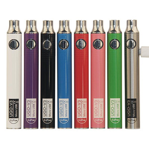 Auténtico Ugo V III V3 650 900mAh EVOD EGO EGO 510 BATERÍA 8 COLORES Micro USB Carga Passthrough Vape Baterías vs Spinner 3s Batería a través de DHL