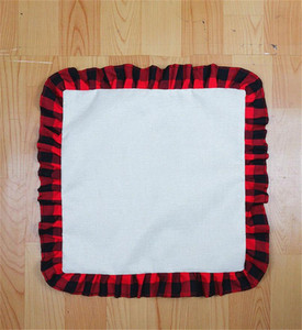 45*45cm Plain Sublimation Red Black Plaid Pillow Case DIY Thermal Transfer Linen Lace Throw Pillow Case Cushion Cover Decorations D102902