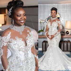 Plus Size Crystal Wedding Dresses 2020 Sheer Long Sleeves Lace Beaded Mermaid Bridal Wedding Gowns Elegant Robe De Mariee