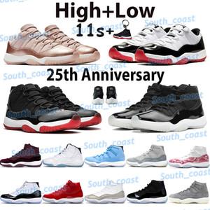 Novos 11 homens sapatos de basquete Jumpman 11s High Sneakers 25º aniversário BRED LEGEND Azul Spack Jam Concord 45 Concord Bred Sneakers