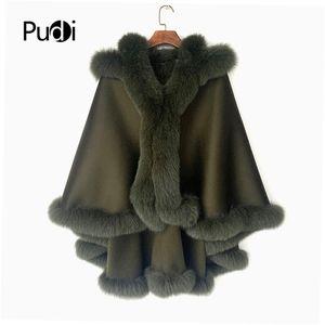 Pudi Mujeres Real Fox Piel Abrigo Chaqueta Femenina Femenina Capucha con capucha Cape 201103