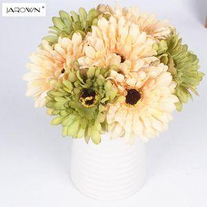 JAROWN Artificial 7Heads Oil Painting Gerbera Bouquet Decorative Silk Flowers Table Arrange For Wedding Home Party Decoration
