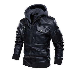 Cappotto del rivestimento di marca degli uomini BOLUBAO inverno nuovi uomini Chiodo in pelle di moda casual in pelle lavata con cappuccio Giacche Maschio