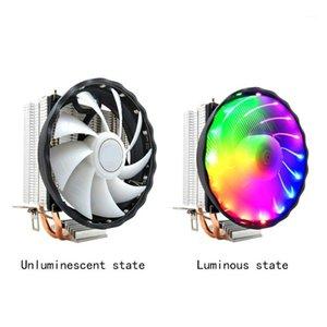 Вентиляторы Охлаждения 3 PIN-код Настольные компьютерные Охлаждающие Светодиодные медные Silent 12V CPU Охладитель RGB Вентилятор Прочный 2 Графические Радиатор для LGA 1155/1151 AMD1