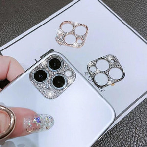 For iPhone 11 MINI Camera Lens Protective Cover Gliter Phone For iPhone 11 12 Pro Max Metal Frame Diamond Gliter Protectors