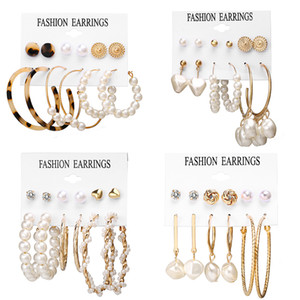 Oversize Geometric Pearl Hoop Earrings For Women Gold Twist Earring Set Brincos Big Circle Leopard Fashion Jewelry N99022Christm